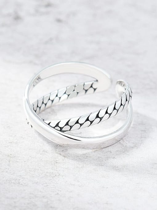 XBOX 925 Sterling Silver Twist Cross Vintage Band Ring 3