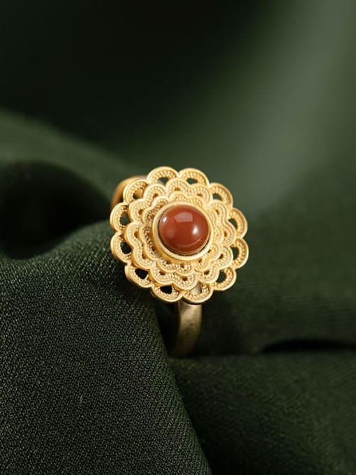 DEER 925 Sterling Silver Carnelian Flower Vintage Band Ring