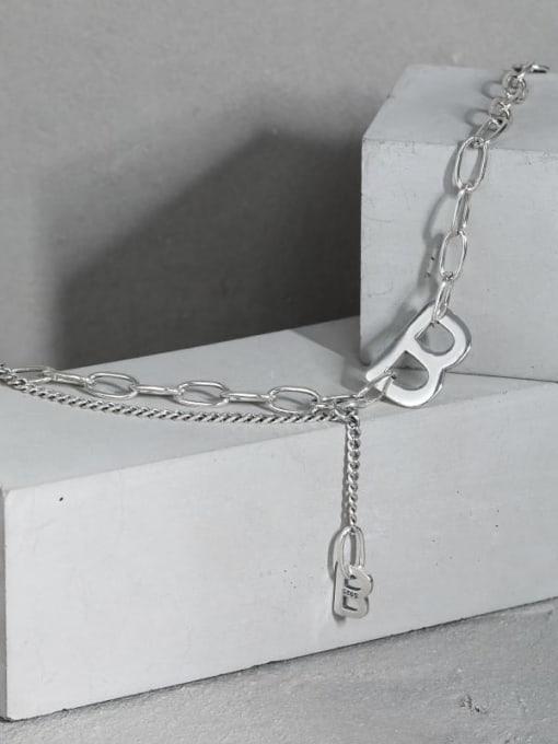 DAKA 925 Sterling Silver Irregular Vintage Hollow Chain Link Bracelet 3