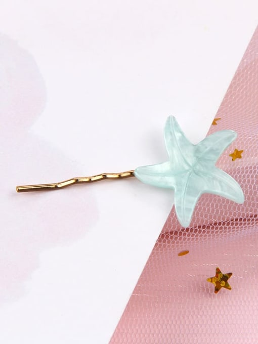 Starfish aquamarine Alloy Cellulose Acetate Minimalist Heart Hair Pin