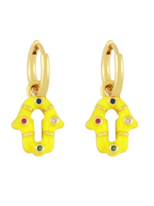 yellow Brass Enamel Geometric Vintage Huggie Earring