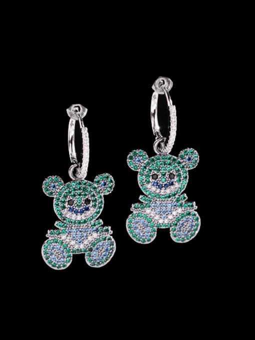 Luxu Brass Cubic Zirconia Bear Cute Huggie Earring 0