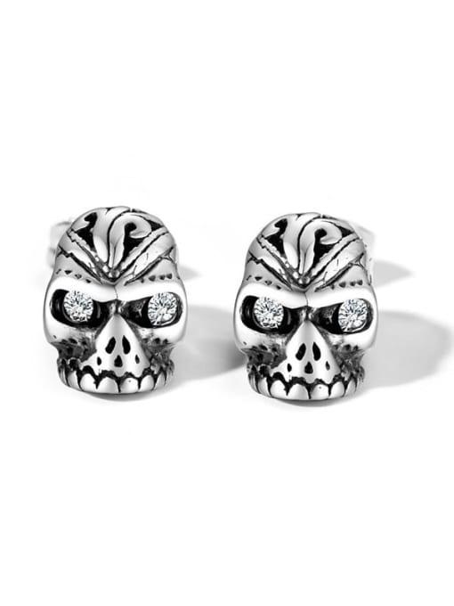 CONG Titanium Steel Rhinestone Skull Vintage Stud Earring