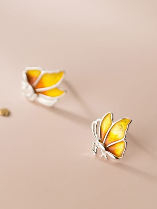 Rosh 925 Sterling Silver Enamel Butterfly Minimalist Stud Earring 3