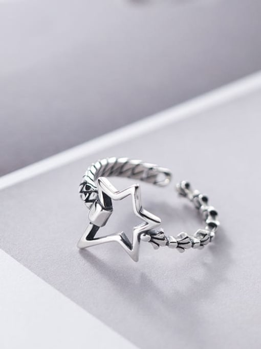 Rosh 925 Sterling Silver hollow Star Vintage Band Ring 1