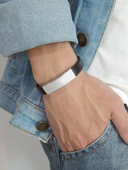 CONG Stainless steel Leather Geometric Minimalist Bracelet 1