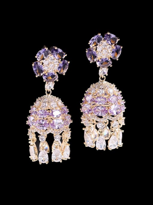 Purple zirconium Brass Cubic Zirconia Geometric Trend Drop Earring