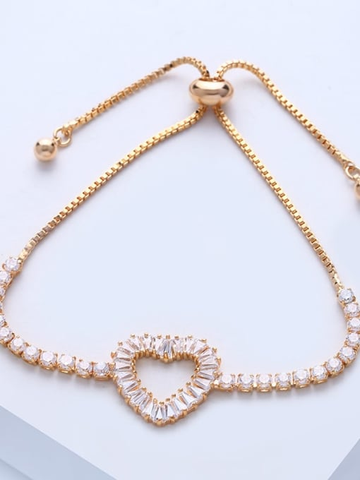 CC Brass Cubic Zirconia Heart Dainty Adjustable Bracelet 4