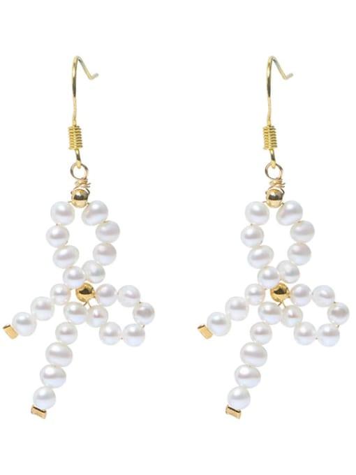 RAIN Brass Freshwater Pearl Bowknot Vintage Drop Earring
