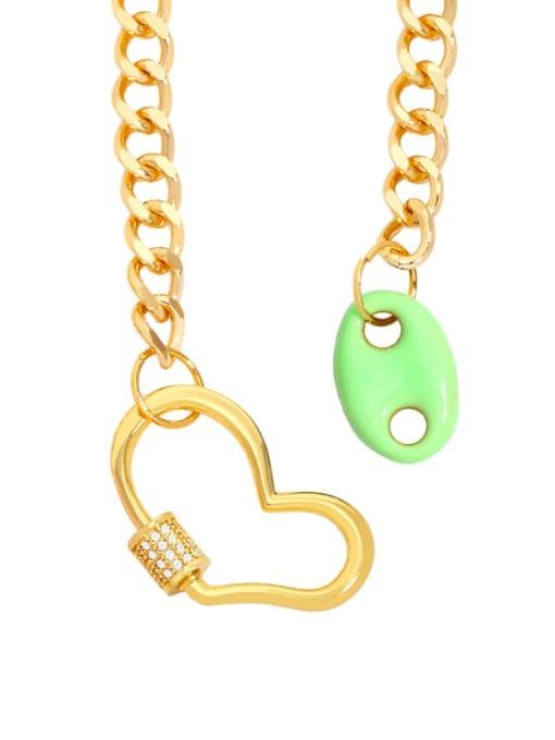 green Brass Enamel Heart Hip Hop Hollow Chain Necklace