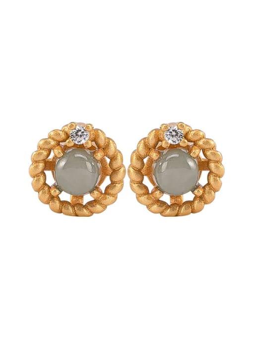 DEER 925 Sterling Silver Jade Flower Vintage Stud Earring 0
