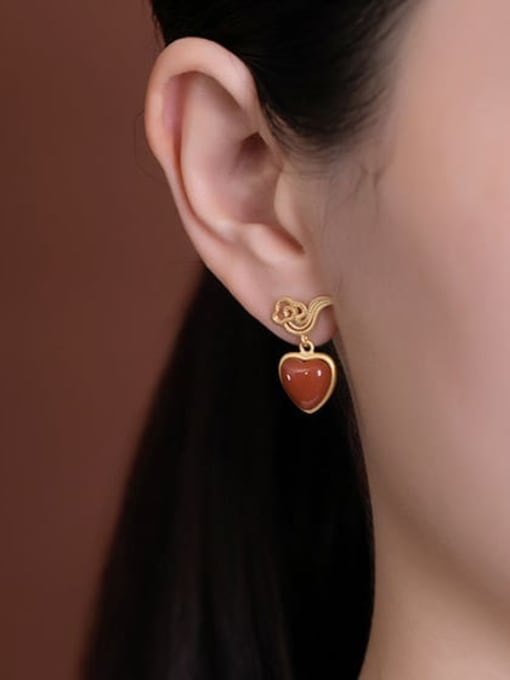 DEER 925 Sterling Silver Carnelian Heart Minimalist Drop Earring 1
