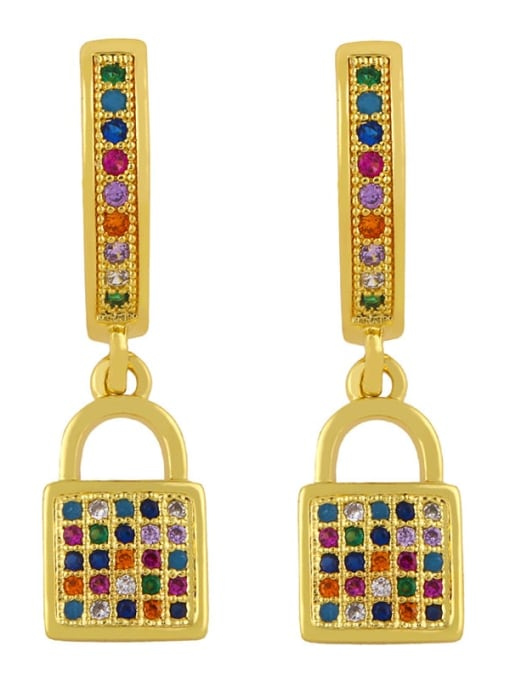 CC Brass Cubic Zirconia Moon Vintage Huggie Earring 4