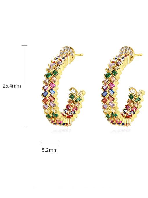 BLING SU Brass Cubic Zirconia Flower Minimalist Stud Earring 4