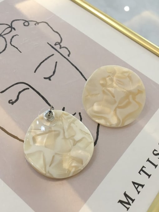 H012 off white Cellulose Acetate Geometric Vintage Drop Earring