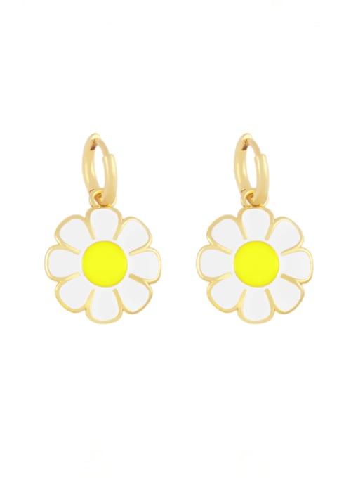 white Brass Enamel Flower Minimalist Huggie Earring