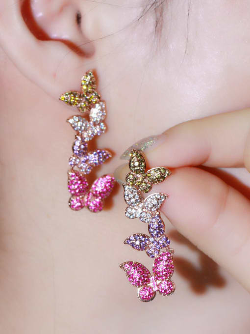 L.WIN Brass Cubic Zirconia Butterfly Luxury Drop Earring 1
