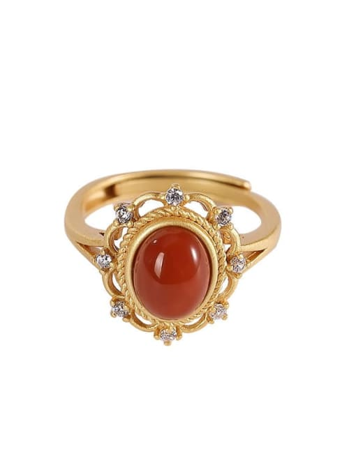 DEER 925 Sterling Silver Carnelian Geometric Ethnic Band Ring