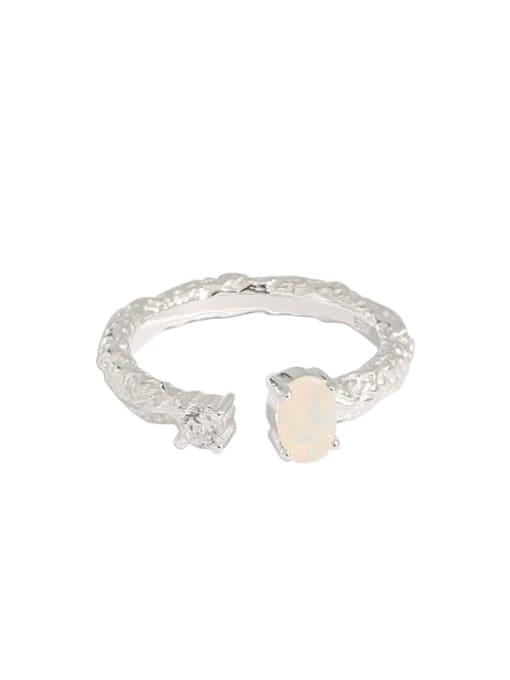 Dak Phoenix 925 Sterling Silver Opal Round Minimalist Band Ring 4