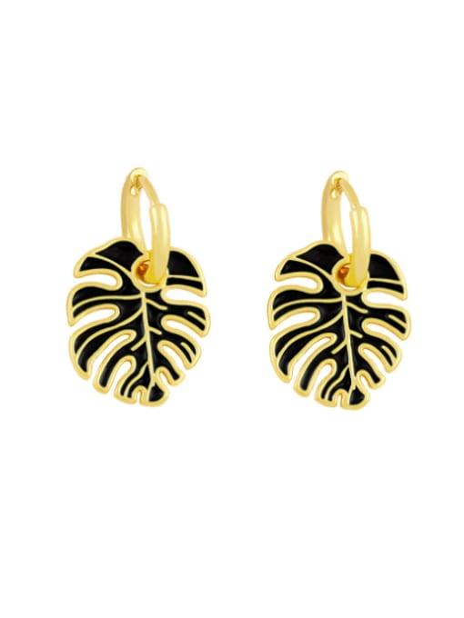 black Brass Enamel Tree  Leaf  Vintage Huggie Earring