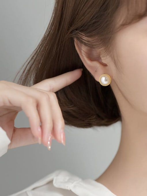 Rosh 925 Sterling Silver Imitation Pearl Round Minimalist Stud Earring 1