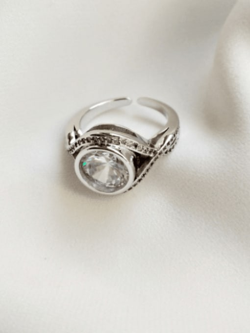 Boomer Cat 925 Sterling Silver Cubic Zirconia Round Vintage Band Ring 3