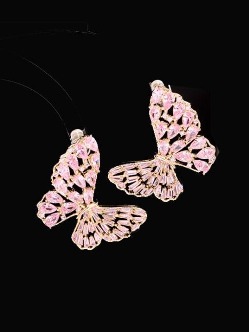 Gold powder zirconium Brass Cubic Zirconia Butterfly Statement Stud Earring
