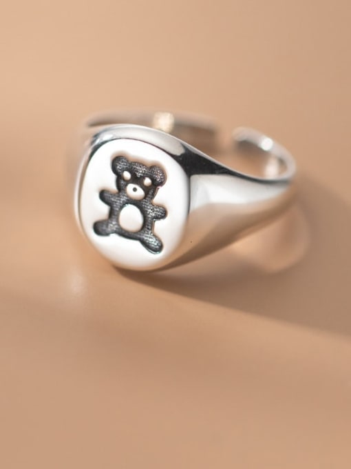 Rosh 925 Sterling Silver Bear Cute Band Ring