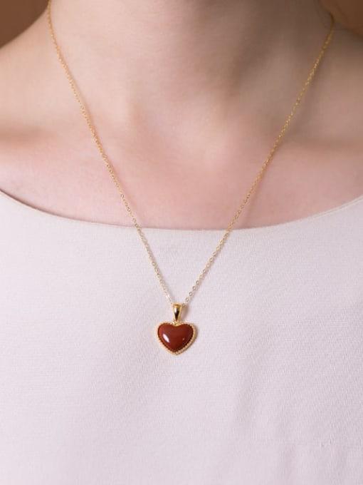 DEER 925 Sterling Silver Carnelian Heart  Vintage Pendant 2