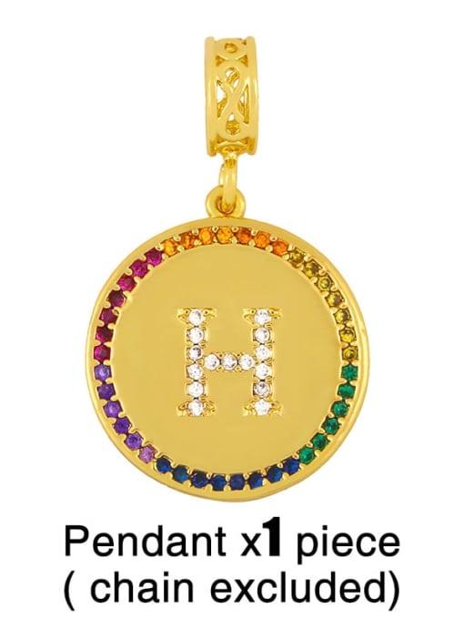 H (excluding chain) Copper Cubic Zirconia Rround Letter Minimalist Pendant