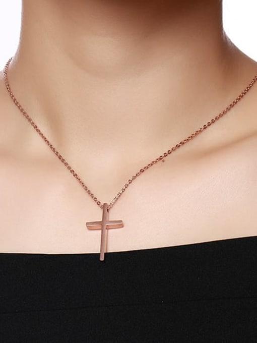CONG Titanium Steel Cross Minimalist Regligious Necklace 4