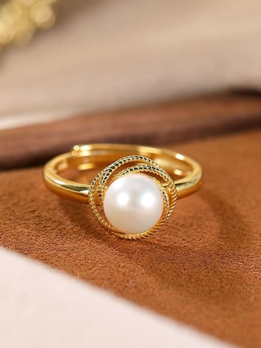 DEER 925 Sterling Silver Freshwater Pearl Round Vintage Band Ring 3
