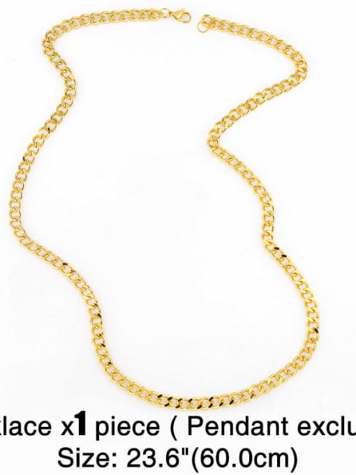 CC Brass Hollow Geometric Chain Minimalist Necklace 1