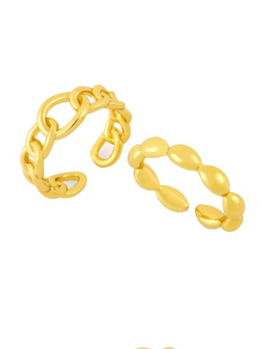 CC Brass Bead Geometric Minimalist Band Ring 0