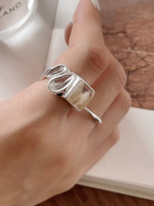 Boomer Cat 925 Sterling Silver Geometric Vintage Concave Convex Stone  Band Ring 1