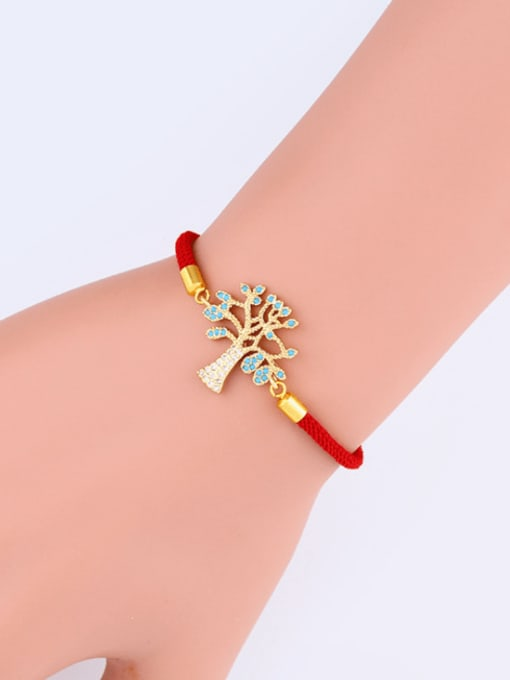 CC Brass Cubic Zirconia Tree Minimalist Adjustable Bracelet 1