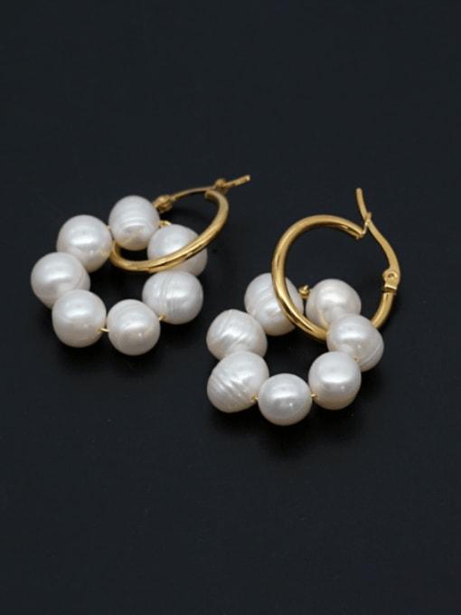 Roxi Stainless steel Freshwater Pearl Geometric Minimalist Huggie Earring 0