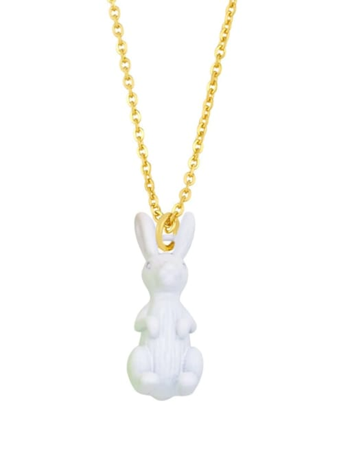 white Brass Enamel Rabbit Vintage Necklace