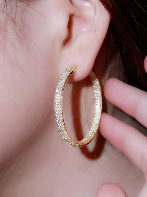 L.WIN Brass Cubic Zirconia Round Luxury Cluster Earring 2