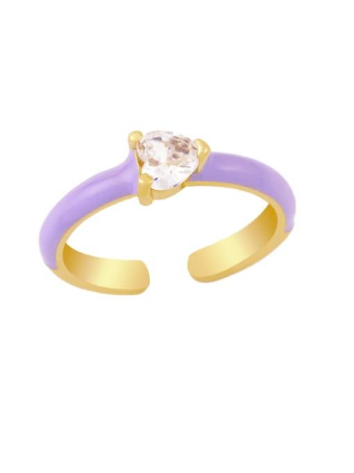purple Brass Enamel Cubic Zirconia Heart Minimalist Band Ring