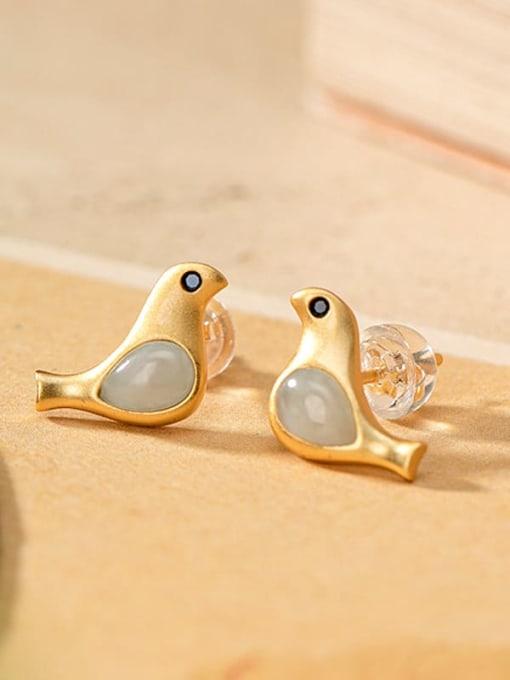 DEER 925 Sterling Silver Jade Bird Cute Stud Earring