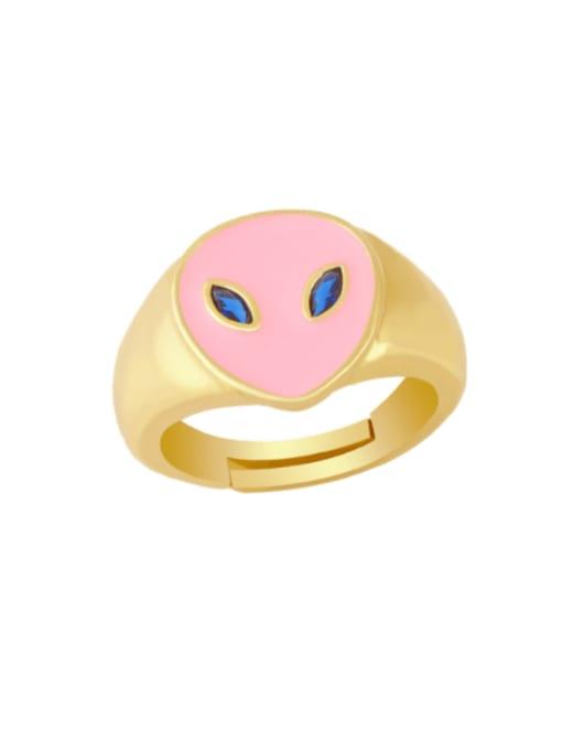 CC Brass Enamel Heart Minimalist Band Ring 1