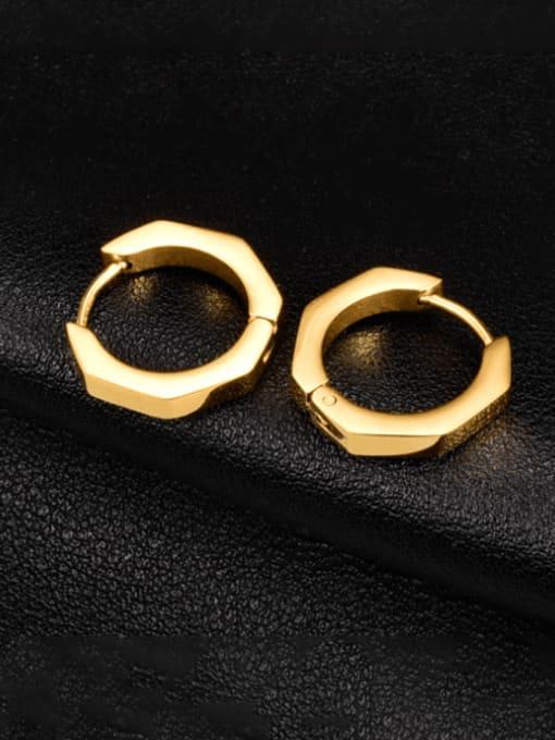 A TEEM Titanium Steel Geometric Minimalist Huggie Earring 0
