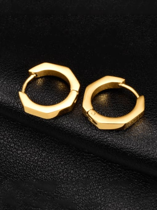 A TEEM Titanium Steel Geometric Minimalist Huggie Earring