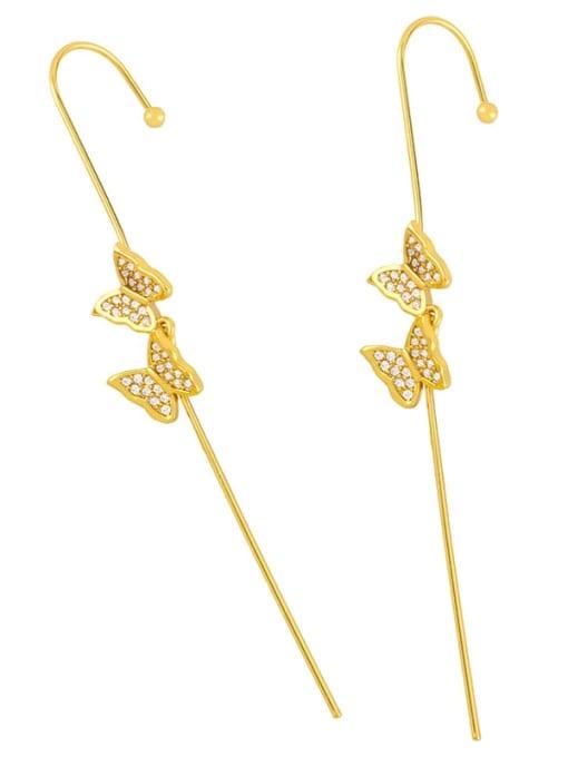CC Brass Cubic Zirconia Butterfly Minimalist Hook Earring 3