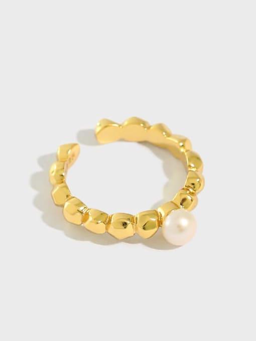 DAKA 925 Sterling Silver Freshwater Pearl Irregular Minimalist Band Ring