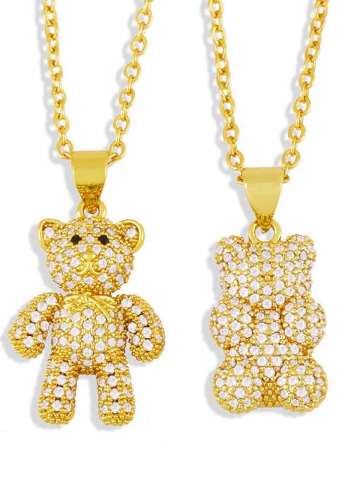 CC Brass Rhinestone Cute Bear  Pendant  Necklace 4