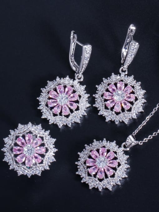 Pink Ring Size 7 Dainty Flower Brass Cubic Zirconia Earring Ring and Necklace Set