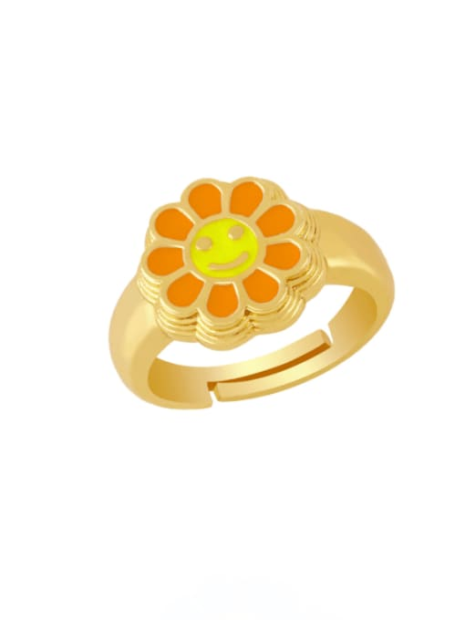 orange Brass Enamel Smiley Vintage Band Ring