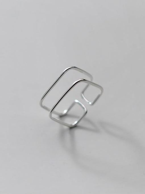 Rosh 925 Sterling Silver Geometric Line Minimalist Band Ring 2